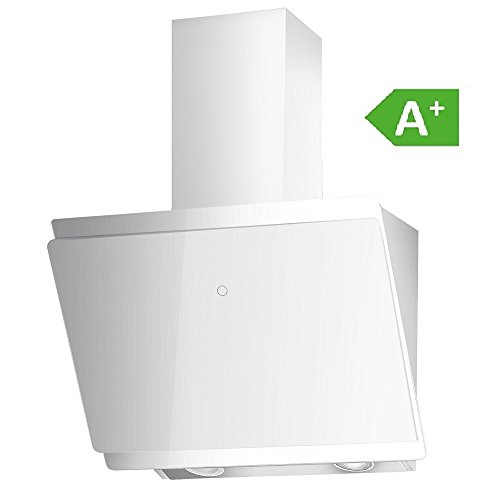 Vlano/MIRA 600 WH/EEK A+ / Kopffreie Dunstabzugshaube • weiß Glas • 60 cm breit • 9 Stufen • 570 m³/h • Touch-Bedienung • LED • Abschaltautomatik • Rückstauventil,• Plastikabluftrohr