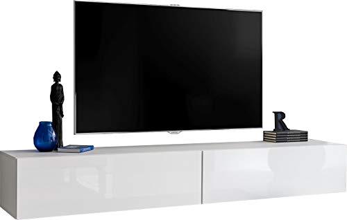 ExtremeFurniture T34-200 TV Lowboard, Karkasse in Weiß Matt/Front in Weiß Hochglanz