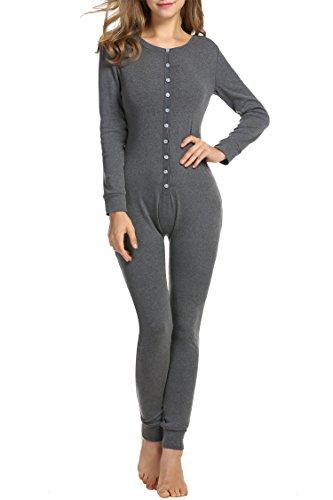 UNibelle Damen Onesie Thermowäsche Damen Hausanzug Jumpsuit Pyjama Overall Strampler für Erwachsene Dunkelgrau L
