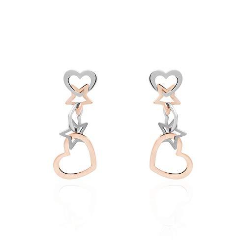 Stroili - Orecchini cuore e stella pendenti in acciaio bicolore per Donna - LOL