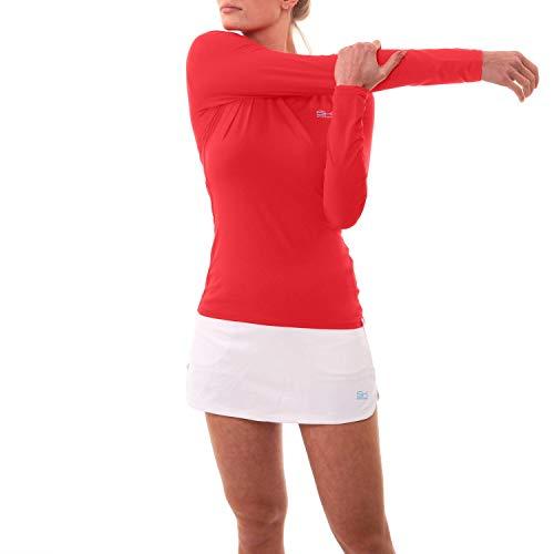 Sportkind Mädchen & Damen Tennis/Running/Fitness Langarmshirt, rot, Gr. 164