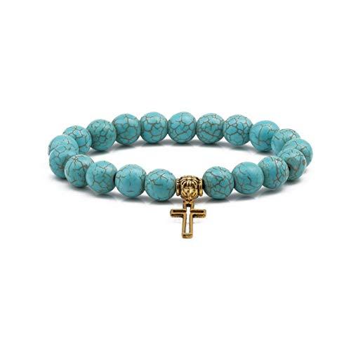 WYLSZ Armband Naturstein Gold Kreuz Armband f¨¹r Frauen M?nner Blau Stein Silber Lebensbaum Eule 3D Perlen Armb?nder Party Geschenk Souvenir (Pearl-kreuz-armband)