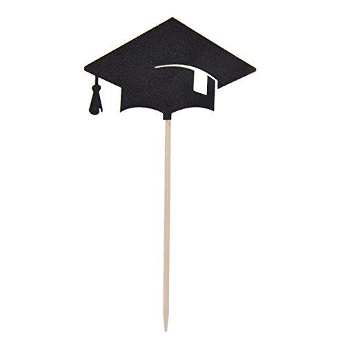 TOOGOO 30 Stk Bachelor-Kappe Kappe Cupcake Toppers Abschlussfeier Grad Dekorationen Supplies Congrats Abschluss