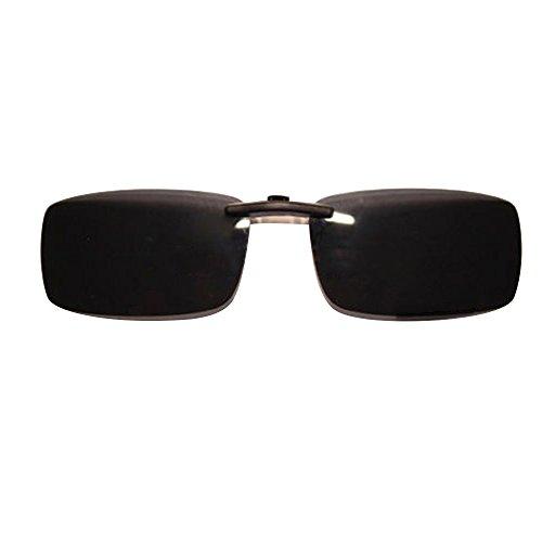 Polarsierte Gläser, gespiegelte, polarisierte, rahmenlose, rechteckige Flip-Up Sonnenbrille zum Aufstecken. Unisex, schwarz