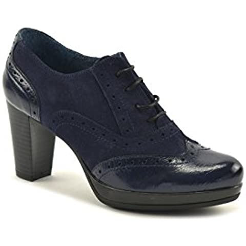 ConBuenPie by Agashu - New Collection - Zapato abotinado piel Azul y Visón.