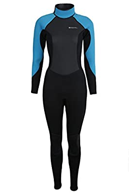 Mountain Warehouse Womens Full Wetsuit in Neoprene Fabric with Flat Seams, Key Pocket, Adjustable Neck Closure & Easy Glide Zip - Perfect for Surfing, Swimming & Kayaking by Mountain Warehouse