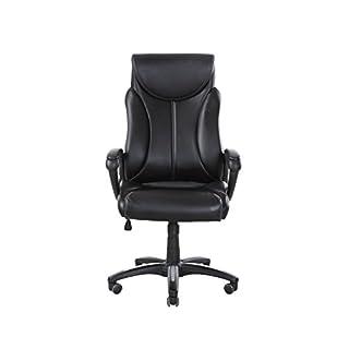 Meubletmoi Fauteuil de Bureau en Simili Cuir Noir - siège Ultra Confortable pivotant et Hauteur réglable - Henry