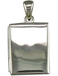 Mens Sterling Silver Plain Oblong Book Locket On A Black Leather Cord Necklace