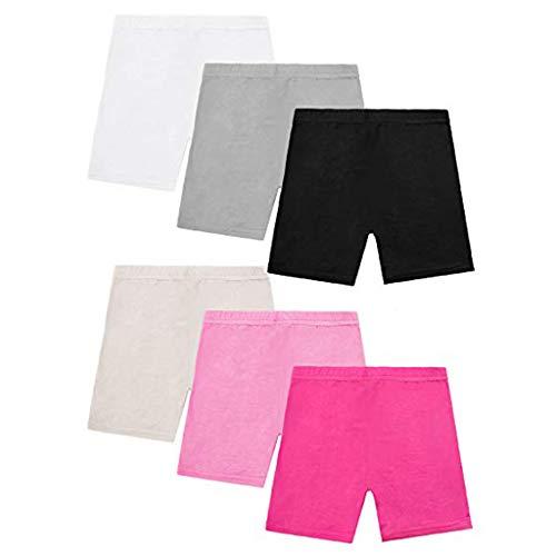 Alwayswin 6 Pack Kinder Tanzen Shorts Mädchen Bike Short Atmungsaktiver Feststoff Sicherheit Shorts 6 Farbe Bequem Gute elastizität Kleid Sicherheitsshorts