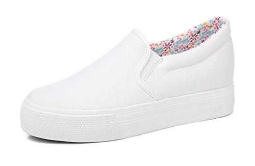 Sneaker Weiß Flach Canvas Klassisch Damen Aisun Erhöhte Schuhe CWqw6zg4T