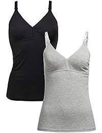 Herzmutter Top de Lactancia Maternal - Camiseta sin Mangas de Lactancia - Ropa de Lactancia - Camiseta para Mujeres Lactantes - Bustier Integrado - algodón - 5400