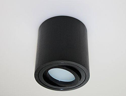 Leuchtstoff-licht-halter (Aufbauleuchte Aufbaustrahler Unterbaustrahler Unterbauleuchte / Helitec-1122 mit GU10 Fassung / schwarz Aufbauspot Spot Deckenleuchte Deckenspot Möbelleuchte Schrankleuchte)