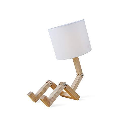 Lámpara de mesa creativa Tela y lámpara de mesa de madera ...
