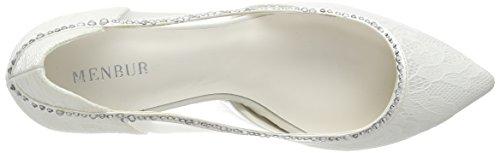Menbur Wedding Belinda, Chaussures à talons - Avant du pieds couvert femme Blanc - Elfenbein (Ivory)