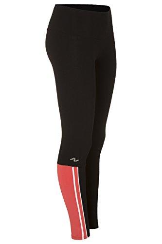 Naffta Active - Pantalón pitillo para mujer, color negro/coral medio, talla XL