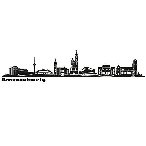 Wandkings Skyline - Deine Stadt wählbar - Braunschweig - 125 x 23 cm - Wandaufkleber Wandsticker Wandtattoo