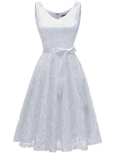 Aonour AR8008 Damen Floral Spitze Brautjungfern Party Kleid Knielang V Neck Cocktailkleid White 2XL