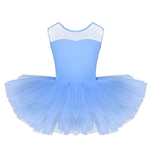 iiniim Maillot de Ballet Niña Tutú Vestido con Braga Interior Traje de Baile Leotardo con Falda Malla Gimnasia Disfraz Bailarina Fiesta Navidad Carnaval para Niñas 4 a 12 Años Azul 8Años