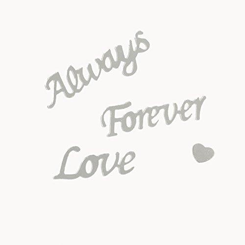 Preisvergleich Produktbild Konfetti Always Forever Love Hochzeits Silber Folienkonfetti mit Herzen Streudeko Tischdekoration Palandi®