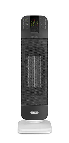 De'Longhi HFX65V20 WHGY Termoventilatore Ceramico a Torre, Bianco/Grigio, Plastica