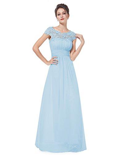 3610a22a961 ... Ever Pretty Damen Lace Rueckseite Offen Kurzarme Chiffon Lange  Abendkleider 09993 Blau ...