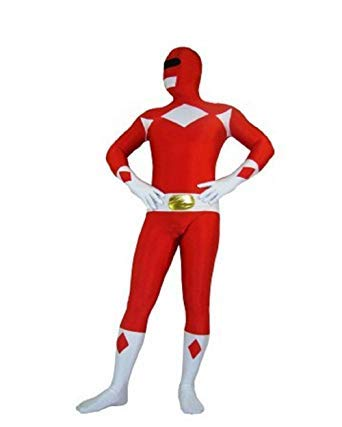 Adult Ranger Kostüm Power - FYBR Red Power Ranger SuperSkin Costume - Adult Unisex Men & Women Second Skin | Zentai Onesie Clothing Outfit Halloween Lycra (Medium)