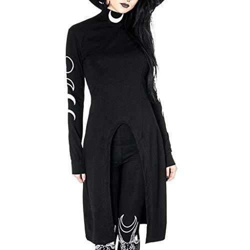 Damen Gothic Longpullover Damen Steampunk Langarmshirt mit Mond Druck Frau Irregular Mittelalter Kostüm Karneval Deko Streetwear