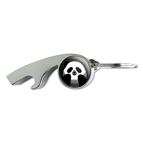 Panda Tête de mort Illusion d'optique Spooky Sifflet de métal plaqué chrome Décapsuleur Porte-clés