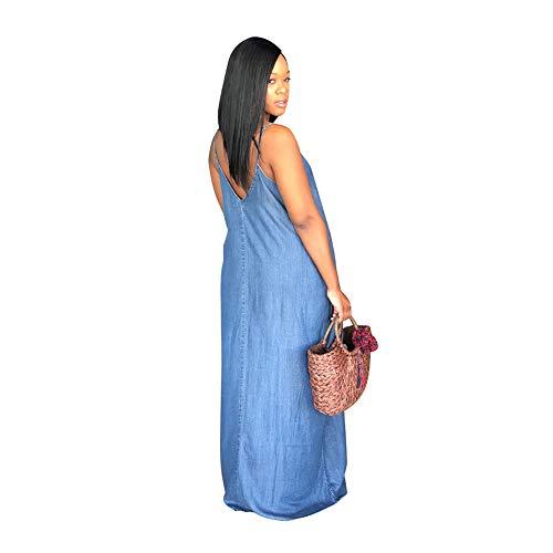 Europäischer Und Amerikanischer Art- Und Weiseloser Denim-Rock, Beiläufiges Einteiliges Kleid Der Frauen, Normallack-Kleid, Mittlere Taille A-Line Rock,XXL (Frauen Denim-kleid Der)
