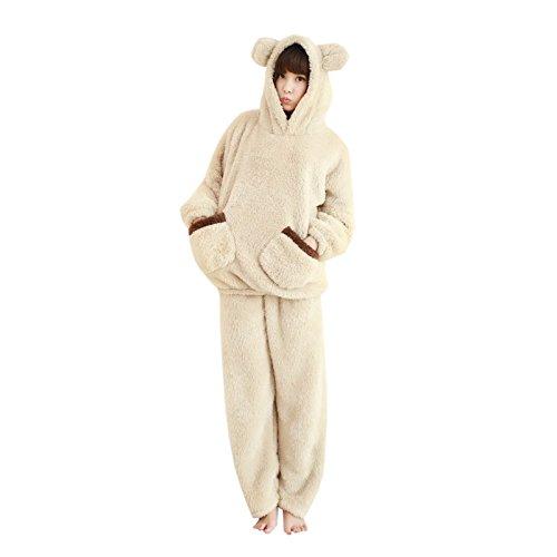 WSLCN Femme Ensemble de Pyjama Animal Ours Mignon Hiver Douce Vêtement de Nuit Flanelle Ours Cosplay Chaud Kigurumi Déguisement de Halloween Noël Party So
