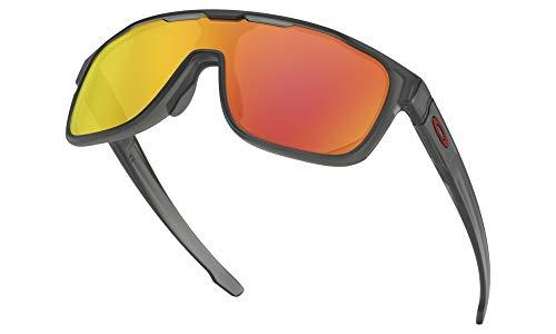 15b0464b00 Oakley Men's Crossrange Shield Non-Polarized Iridium Rectangular  Sunglasses, MATTE GREY SMOKE, ...