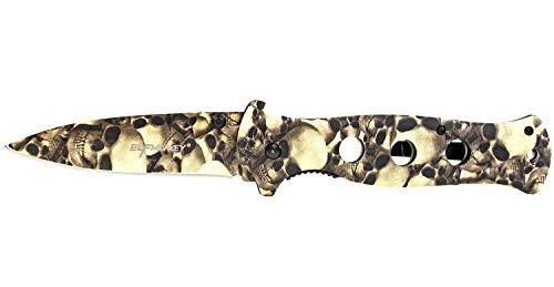 ELFMONKEY Klappmesser in Einem Totenkopf Look extra Scharfes Taschenmesser Einhandmesser Survival Outdoor