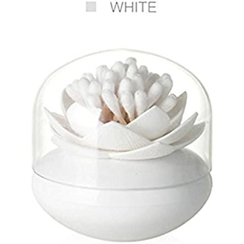 B&Y Lotus Cotton Swab Holder Small Toothpicks Q-tips Storage Organizer Canister Jar for Swabs Cosmetic Pads (White) by