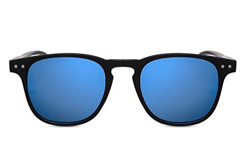 Cheapass Sonnenbrille Rund Schwarz Blau Verspiegelt UV-400 Rechteckige Designer-Brille Hipster Accessoire Damen Herren