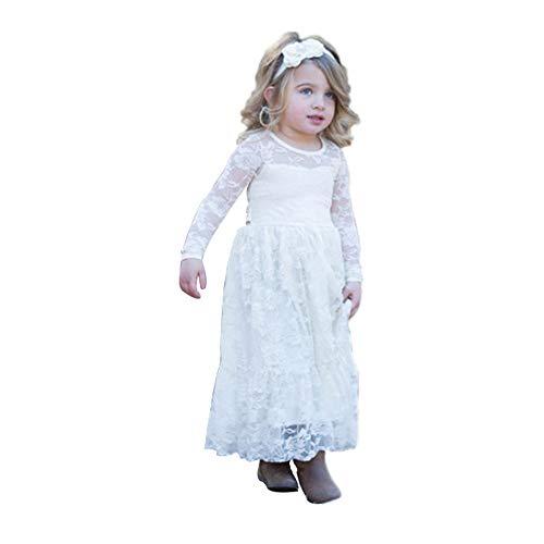 XEJ Mädchen Prinzessin Spitzenkleid Vintage Kinder Kleid Party Brautkleider