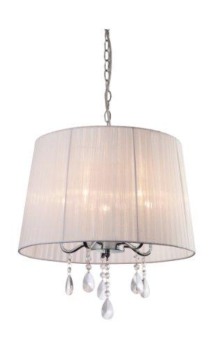 Firstlight - Lámpara de techo de organza con lágrimas de cristal (5 focos E14 de 40 W), color cromado y blanco