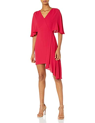 Halston Heritage Damen Flowy Short Sleeve Faux Wrap Dress Cocktailkleid, Karminrot, 36 -