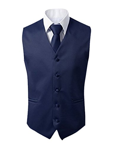 Herren 3 Stueck Weste NeckTie Tasche Square Set fuer Anzug oder Smoking von Judi Dench Navy Blau