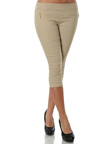 Damen Capri Hose Sommerhose Kurze-Hosen (weitere Farben) No 15526, Farbe:Beige;Größe:42 / XL (Capri-stretch-hose)