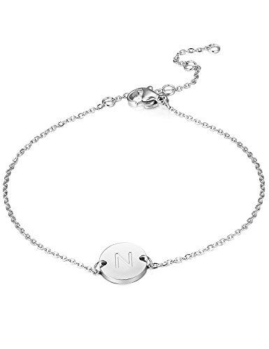BE STEEL Edelstahl Armbänder für Damen Mädchen Initiale Armband Armkette Buchstaben N 16.5+5CM