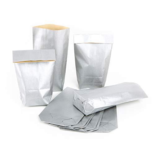 25 mini sacchetti di carta, 9 x 15 x 3,5 cm, colore: argento