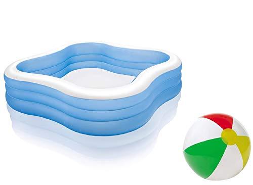 Bavaria-Home-Style-Collection Großer Aufstellpool Familien Kinder Erwachsenen Pool Kinderpool Schwimmbecken Family Lounge Pool Terrasse Garten Größe ca. 229 x 229 x 56 cm