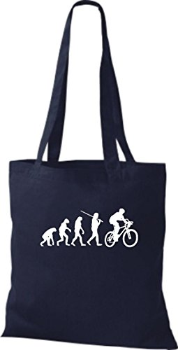 Shirtinstyle Borsa Di Stoffa Jute Evolution Moto Bike Biking Stunt Freebike Biker Vari Colori Blu