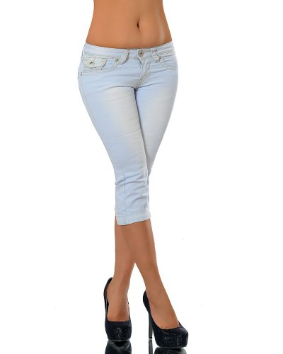 K900 Damen Capri Jeans Hose Damenjeans Caprihose Caprijeans Bermuda Dicke Naht, Farben:Hellblau;Größen:42 (XL) (Capri Slim-jeans)