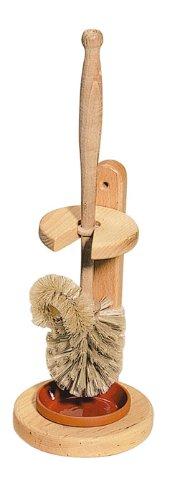 WC Bürste, Kosmetex Holz Klobürste mit WC Ständer aus Buchenholz, Bürste mit Randreiniger -