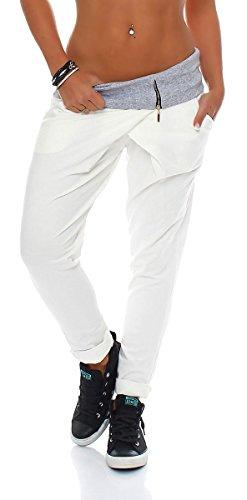 Malito Damen Jogginghose in Wickel Optik | Sporthose in Unifarben | Baggy zum Tanzen | Sweatpants - Trainingshose 3318 (weiß)