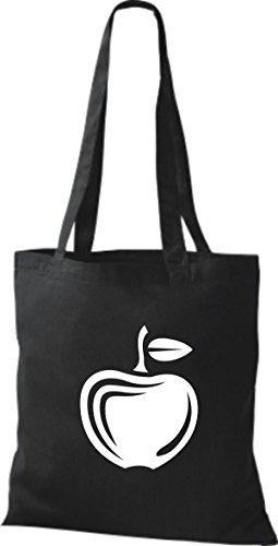 ShirtInStyle Stoffbeutel Baumwolltasche Dein Lieblings Obst und Gemüse Apfel Farbe Weinrot schwarz