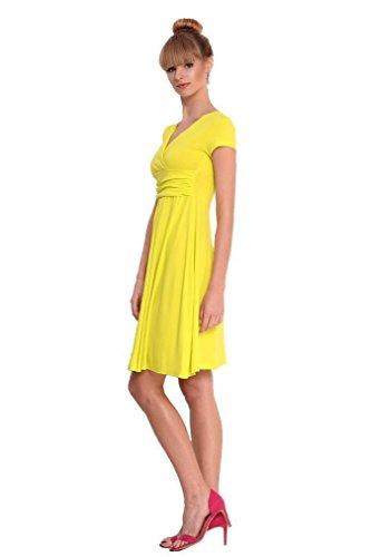 Kleid mit Raffungen überlappender VAusschnitt in 14 Farben, 8416 Neon Gelb