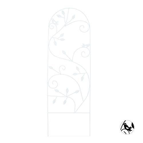 Relaxdays Grigliato da Giardino con Uccellini Metallo per Piante Rampicanti 120x40 Colore Bianco
