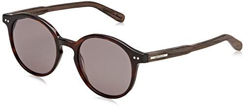 Wood Fellas Unisex-Erwachsene Sunglasses Basic Leuchtenberg Sonnenbrille, Blue Mirror/Black/Walnut, 21